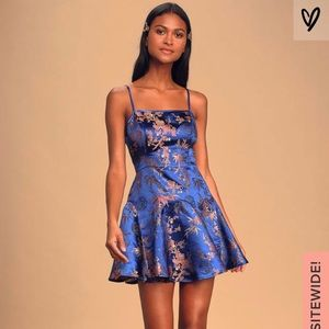 Royal Blue Satin Jacquard Mini Dress